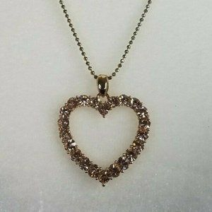 Heart Pendant Pink Crystals 22″ Necklace